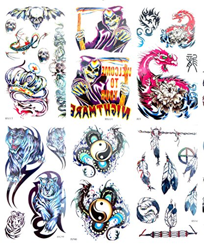 6 sheets dragon skull temporary tattoo cool wrist tattoos -