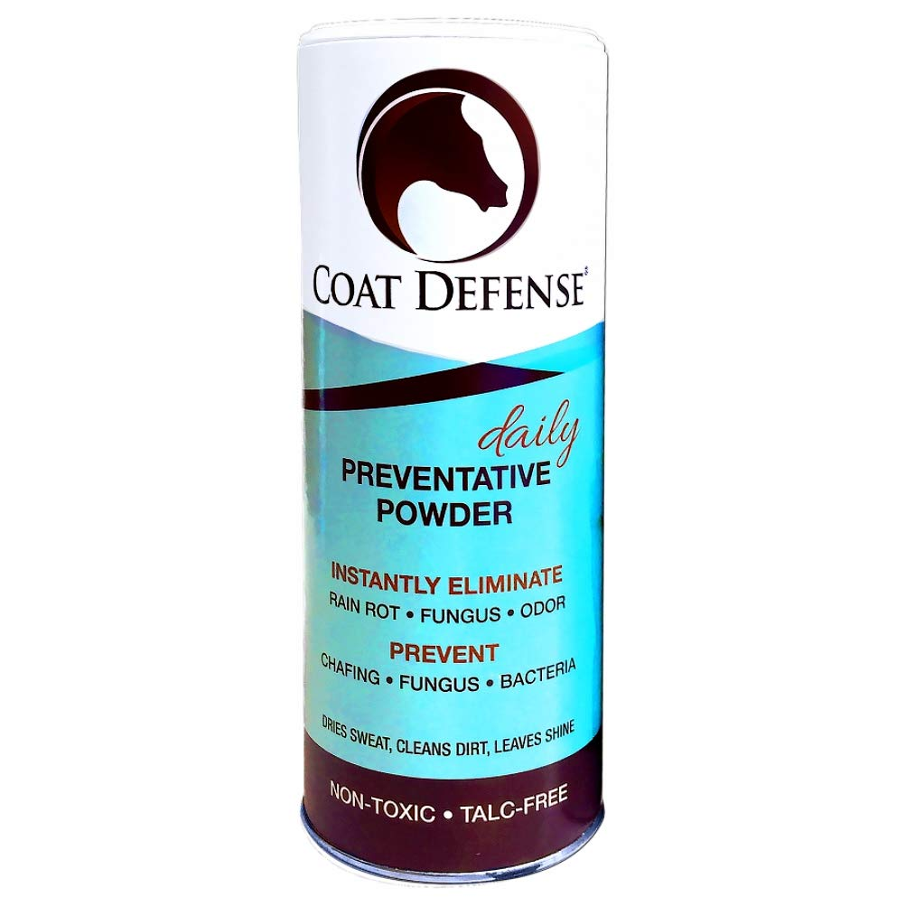 COAT DEFENSE Daily Preventative Powder for Horses. Cleans and Deodorizes Without Water. Shake On, Work In, Brush Out. Eliminates Odor, Bacteria, Fungi, Rain Rot. Safe. Talc-Free. Made in USA. 24 Ounce by Coat Defense (Image #1)