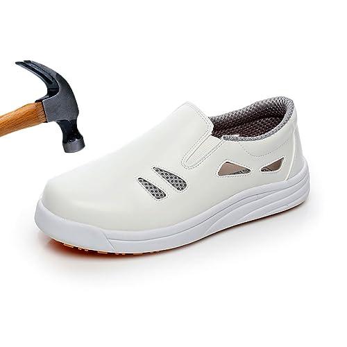 grande vente fcc68 ef52b Levoberg Chaussure de Sécurité Embout en Acier Protection d'eau et d'huile  Chaussure de Travail Antidérapant pour Homme Femme