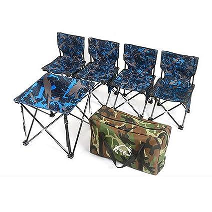 LEDU Mesa Plegable al Aire Libre y Juego de sillas, Mesa de ...