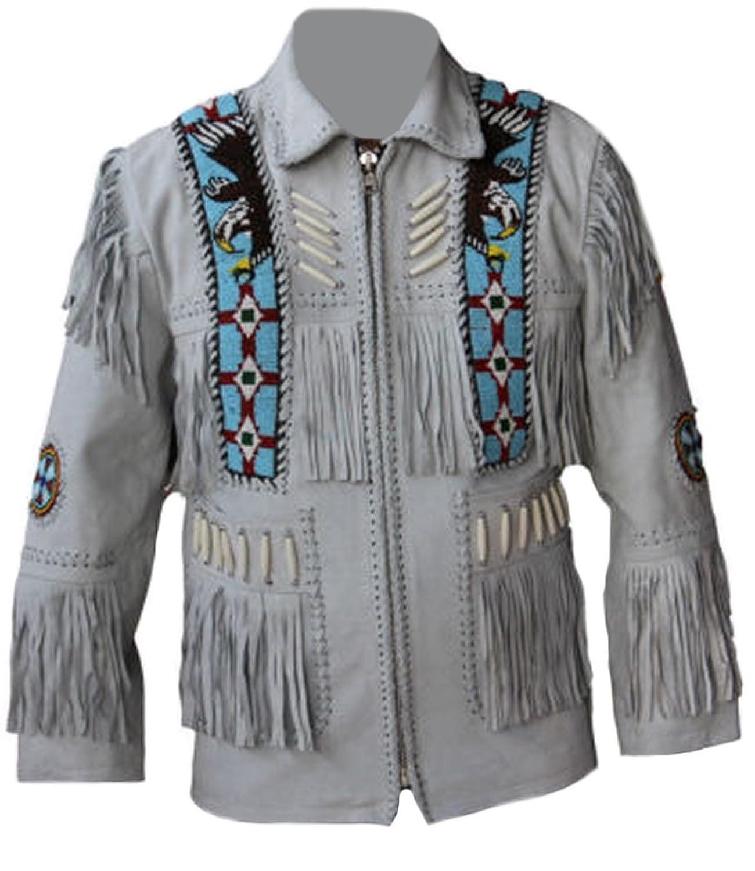 Coolhides Men's Cowboy White Leather Jacket Eagle