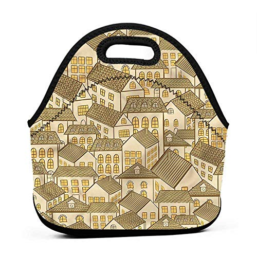 Travel Case Lunchbox with Zip Retro,Village Town Houses Roofs,camp lunch bag for men