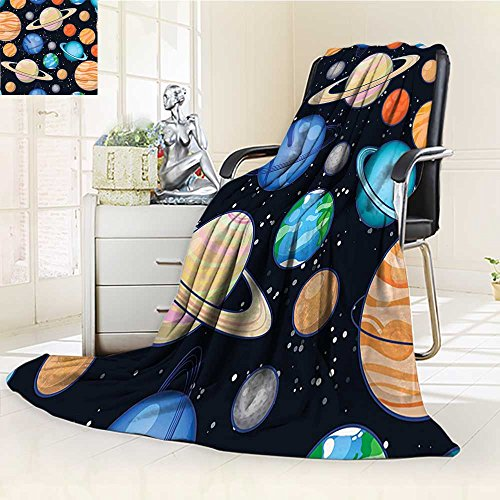 YOYI-HOME Custom Design Cozy Flannel Duplex Printed Blanket Art Solar System with Planets Mars Mercury Uranus Jupiter Venus Kids Print Multi Lightweight Blanket Extra Big /W69 x H47 by YOYI-HOME
