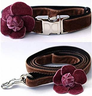 """product image for Diva-Dog 'Camellia Velvet Dusty Rose' Custom Small Dog 5/8"""" Wide Dog Collar with Plain or Engraved Buckle, Matching Leash Available - Teacup, XS/S"""