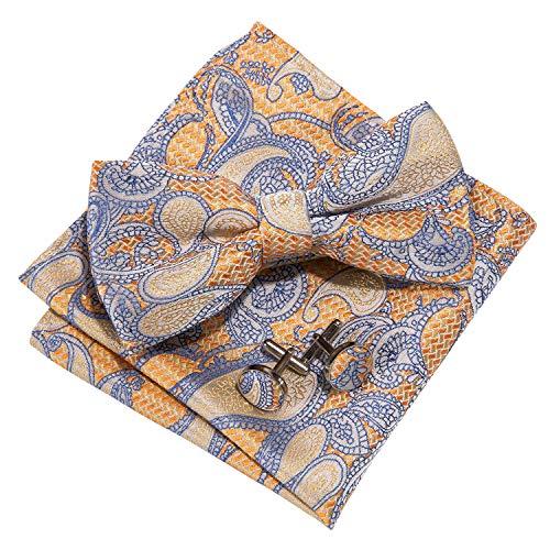 Barry.Wang Mens Orange Silk Bow Tie Pocket Square Paisley Bowtie Cufflinks Set - Orange Silk Bow Tie