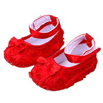 f3d993995425 Image Unavailable. Image not available for. Color  Cute Baby Girl Crib Shoes  Comfortable Soft Sole Anti-Slip Sandal Princess Rose Flower Infant