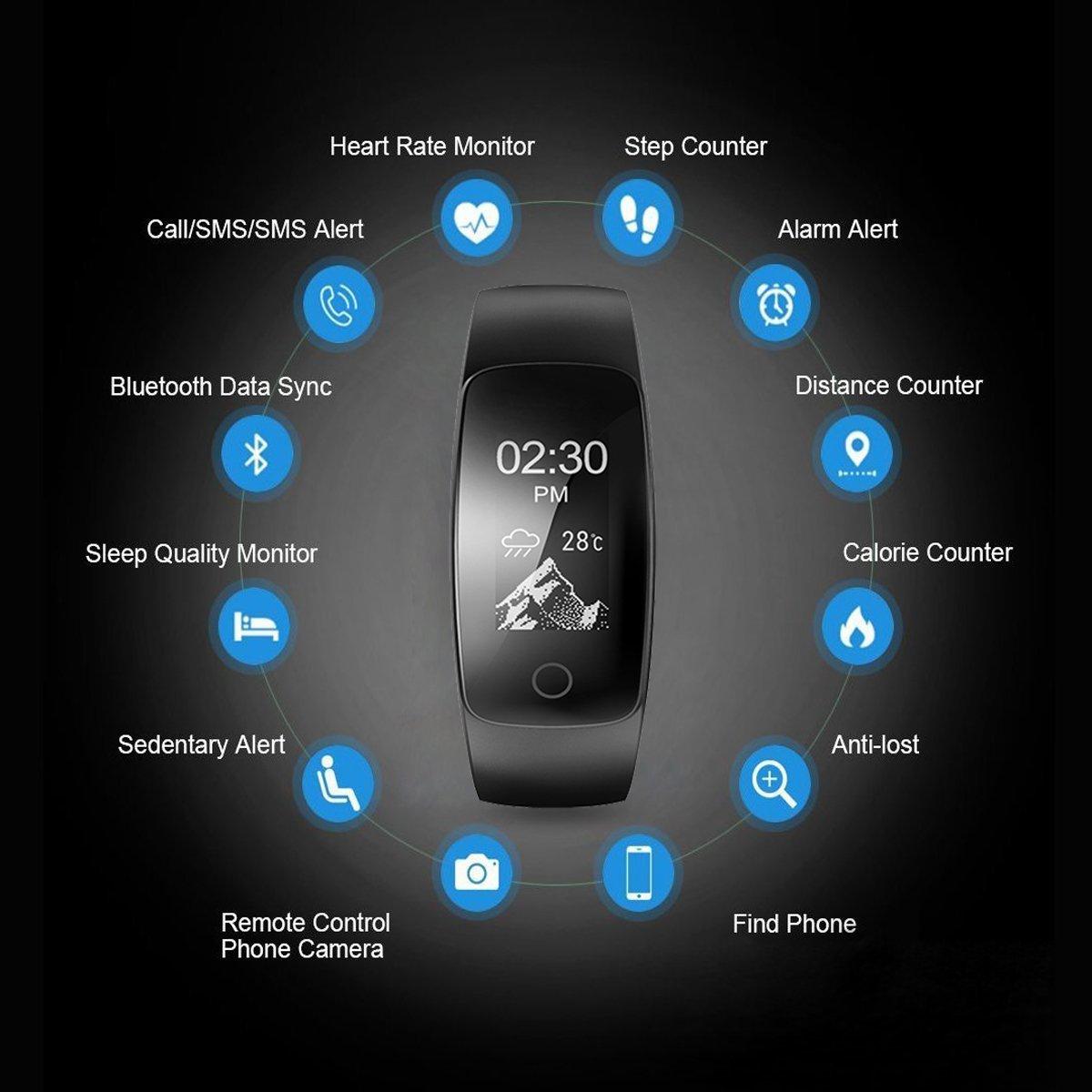 Pulsera de Fitness, Drillpro Fitness Tracker/Pulsera Inteligente/ Pulsera Multifunción -ID107Plus HR Fitness Tracker Monitor de Frecuencia Cardíaca, ...
