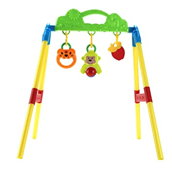 cf6a71d8fdcf1 Amazon.com   Baby Fitness Frame Activity Gym Music Hanging Bell Early  Educational Intelligence Game Toy Set Baby Kick and Gym Play Pushchair  Hanging Toys ...