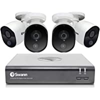 Swann 8 Channel 4 Camera Security System, Wired Surveillance 1080p Full HD DVR 1TB HDD, Indoor/Outdoor, Heat & Motion…