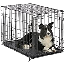 "Dog Crate | MidWest iCrate 36"" Folding Metal Dog Crate w/Divider Panel, Floor Protecting Feet & Leak-Proof Dog Tray 