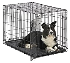 "The ""all inclusive"" iCrate, folding metal dog crate by MidWest Homes for Pets includes all of the features you will need to provide a convenient, safe & secure pet home for your best friend. This metal dog crate includes a free divider pa..."