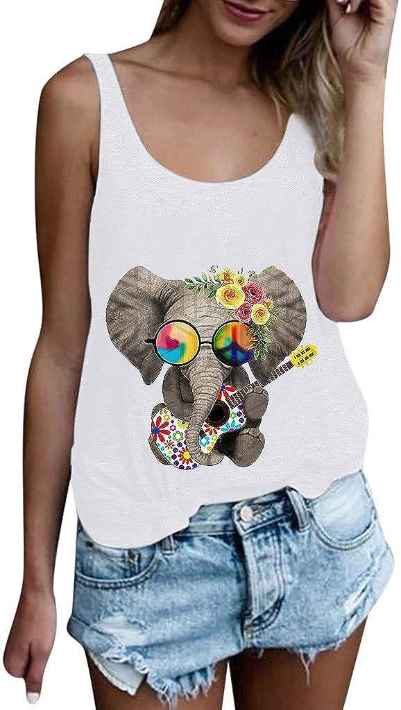 Camiseta Estampada Elefante de Guitarra para Mujer de Mujeres niñas Camisa sin Mangas o Manga Corta de Talla Grande Tops Divertida Blanco L: Amazon.es: Ropa y accesorios