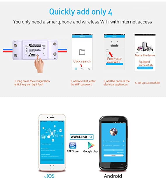 Sonoff Wifi Switch 3-Pack Wireless Remote Control Electrical for Household  Appliances,Compatible with Alexa DIY Your Home Via Iphone Android App