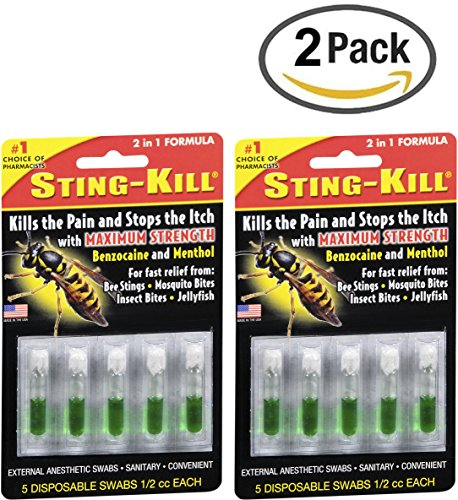 Sting-Kill Swabs, Fast Relief from Bee Stings, Mosquito Bites, Insect Bites, 5 Count-2 (Insect Bite Relief Swabs)