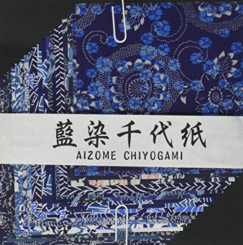 Aitoh YW-622 Aizome Chiyogami Origami Paper, 4-Feet by 4-Inch, ()