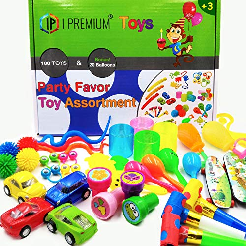 I Premium Party Favor Toy Assortment in Big 120 Pack. Party Favors for Kids, Bulk Toys for Prizes, Box Toy Assortment, Birthday Party Favors for Kids, Carnival Games, Pinata Filler, Prizes for Kids