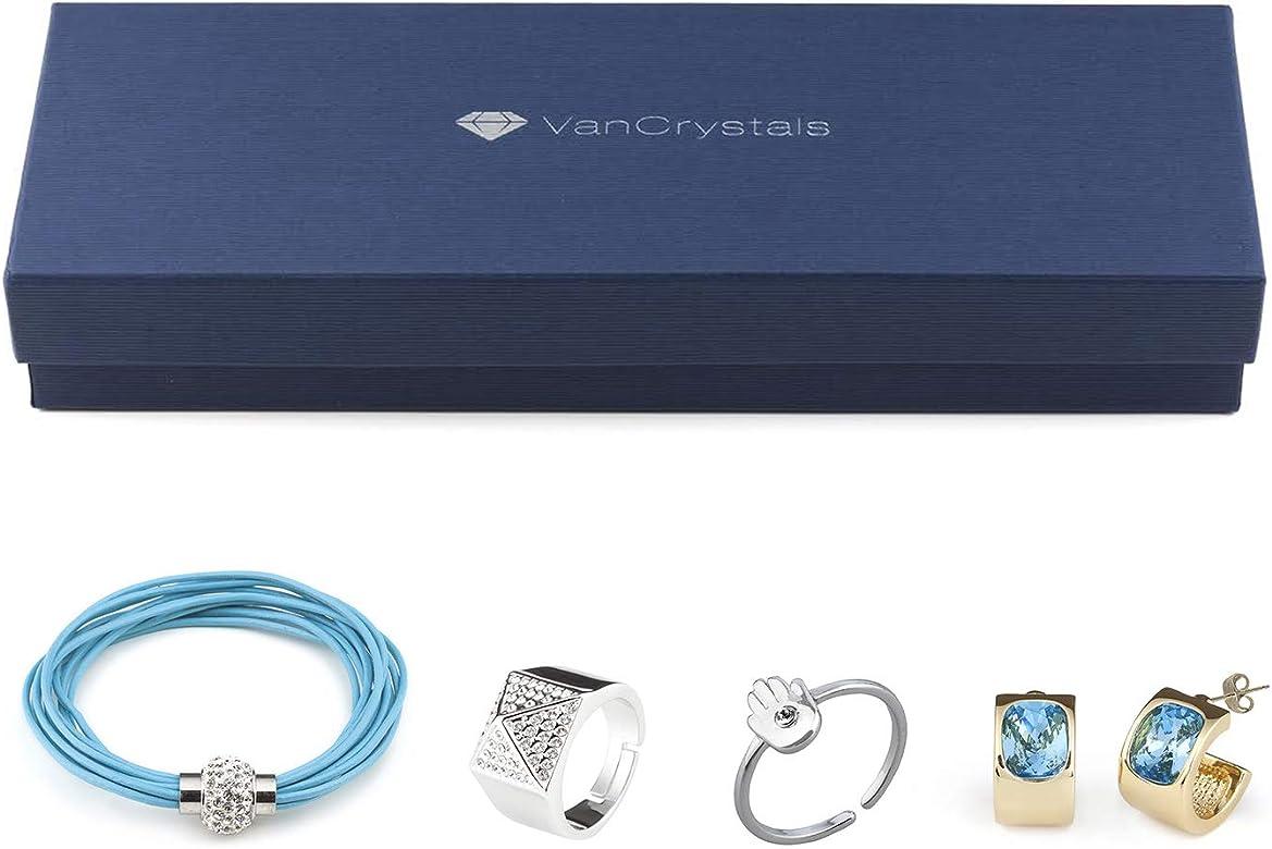 Vancrystals - Caja Regalo - Pendiente Galia Azul, Pulsera Aldana Azul, Anillo Ceres, Anillo Fátima: Amazon.es: Joyería