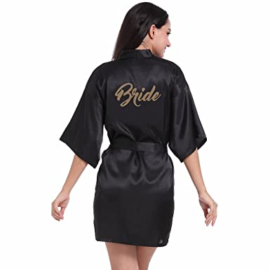 c4c66bb6e9 BOYANN Bride Gold Stamping Short Dressing Gowns Satin Kimono Robe ...