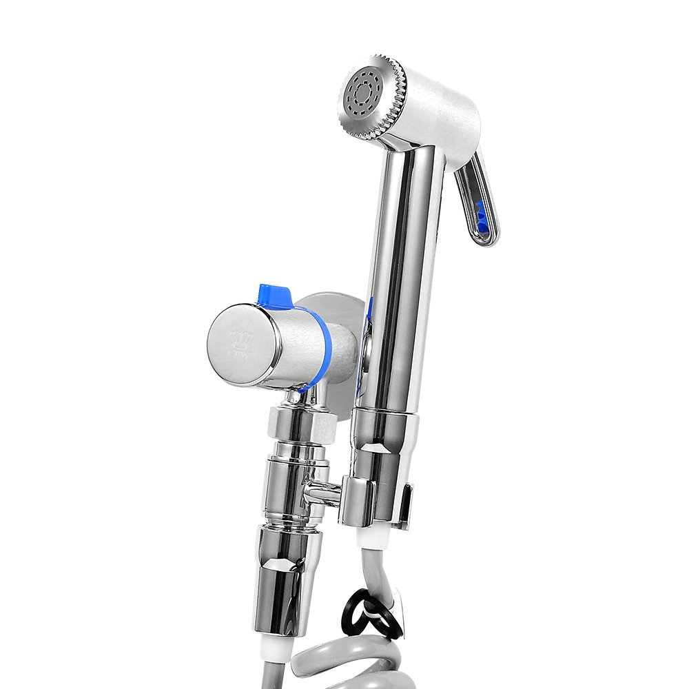 CRW Toilet Hand Held Bidet Sprayer with Flexible Hose WALL MOUNTED, NO NEED TO CONNECT THE TOILET TANK for Cloth Diaper Bathroom Spray Wand Shattaf