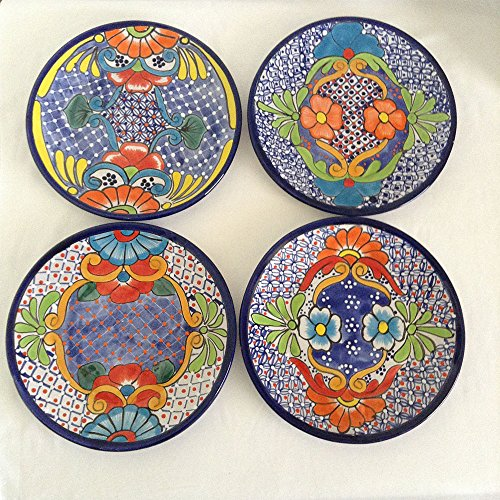 Plates - Four big plates - Mexican Talavera - Bonita Plaza