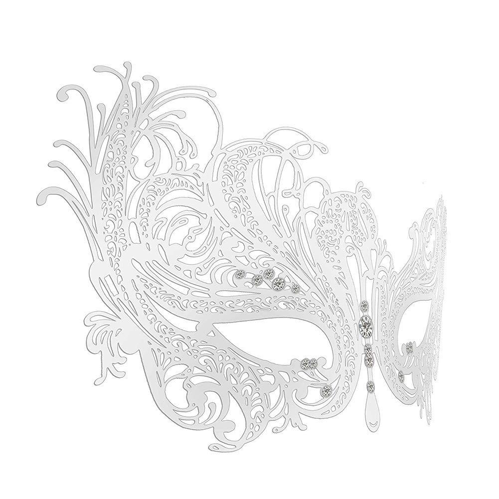 Zicue Humorvolle Maske Maskerade Prom Maske Maskerade Maske FiliGröße Metall-Augenmaske mit Rhinesonen für Frauen Kostüm Masked Ball Fancy, Schwarz( Farbe   Gold ) Silber
