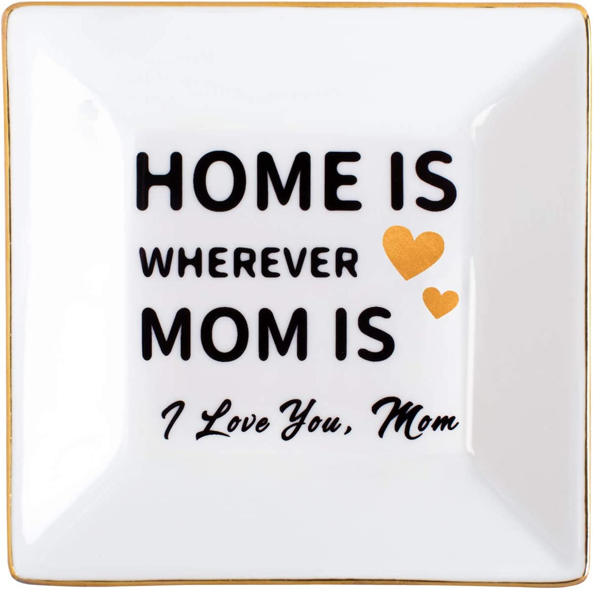 Kaidouma Gifts for Mom from Daughter Son Ring Dish Ceramic Jewelry Trinket Tray Mother's Day Birthday Christmas Gift for Mother - Home is Wherever Mom is - I Love You Mom