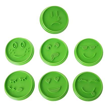 Fogun - Molde para galletas, 7 piezas, diseño de emoticonos