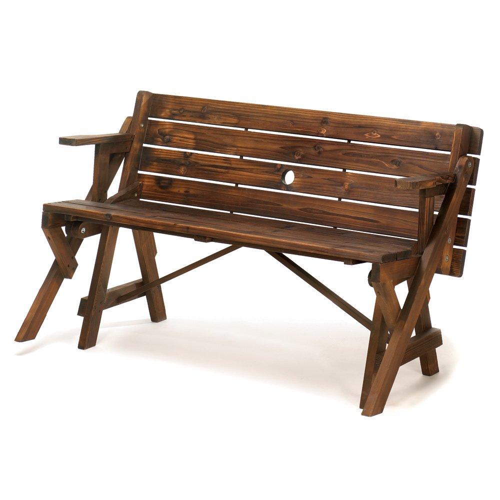 Amazon.com : Folding Convertible Outdoor Bench Garden Picnic Table : Garden  U0026 Outdoor