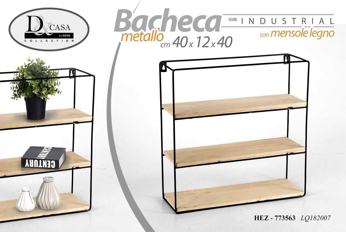 40 cm da Parete HEZ-773563 12 GICOS IMPORT EXPORT SRL Scaffale bacheca libreria in Metallo Nero con mensole in Legno Serie Industrial 3 Ripiani 40