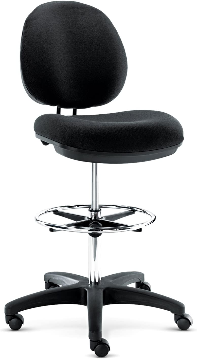 Alera Interval Series Swivel Stool, Black Fabric