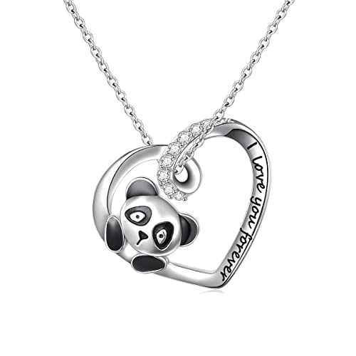 925 Sterling Silver Cute Animal Heart Pendant Necklace with Words Engraved, Chain 18 inch Women Girls Graduation Gift Birthday Gift