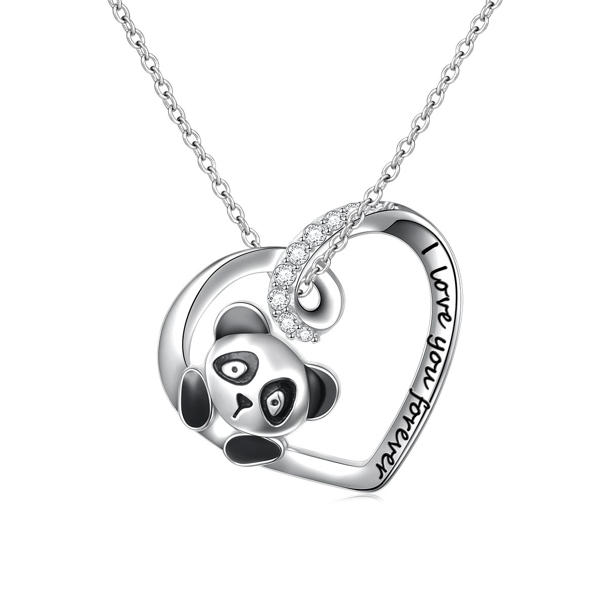 SILVER MOUNTAIN 925 Sterling Silver Engraved I Love You Forever Cute Animal Panda Pendant Necklace for Women Gift, 18'' Rolo Chain
