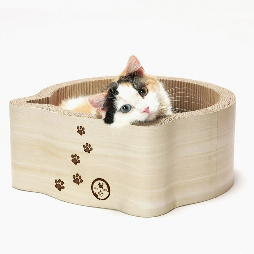 Necoichi Cat-Headed Scratcher Bed (Birch, Regular) by Necoichi