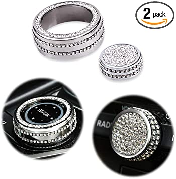 LECART Bling Car Interior Air Conditioning Knob Covers Premium Zinc Alloy AC Climate Switch Cover Caps Auto Inner Bling Decorations Compatible for Mazda 3 Mazda 6 Mazda CX5 CX9 Silver Pack of 2