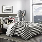 3 Piece Checkered Ski Lodge Reversible Duvet Cover Full/Queen Size, Printed Polar Bear Snow Camp Design, Plush Tailored Plaid Pattern, Outdoors Country Theme, Modern Winter Slope Motif, Black, White