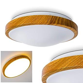 Bad Deckenlampe Sora Wood mit warmweißem Licht in Holzoptik -  Deckenstrahler für Badezimmer - Flur - Küche - Innenlampe mit LED-Licht in  schickem ...