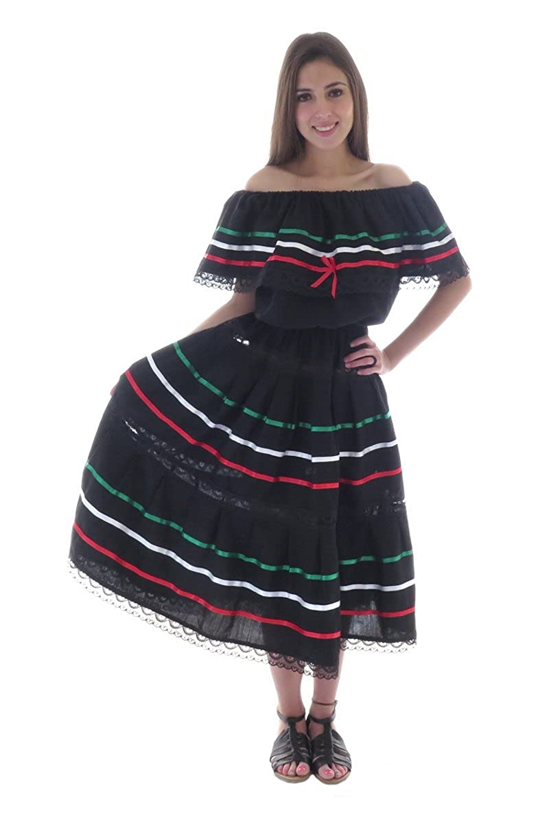 Women's Fiesta Black Cotton Poplin Mexican Ribbon Dress - DeluxeAdultCostumes.com