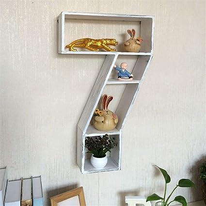 WXQIANG - Estantería flotante para pared, diseño de número 7 ...