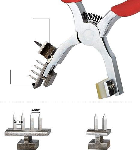 Punzón para orificios de cuero, perforador de orificios para cinturón, herramienta de pinza giratoria para trabajos pesados Power Assist con accesorios de repuesto, rojo: Amazon.es: Bricolaje y herramientas
