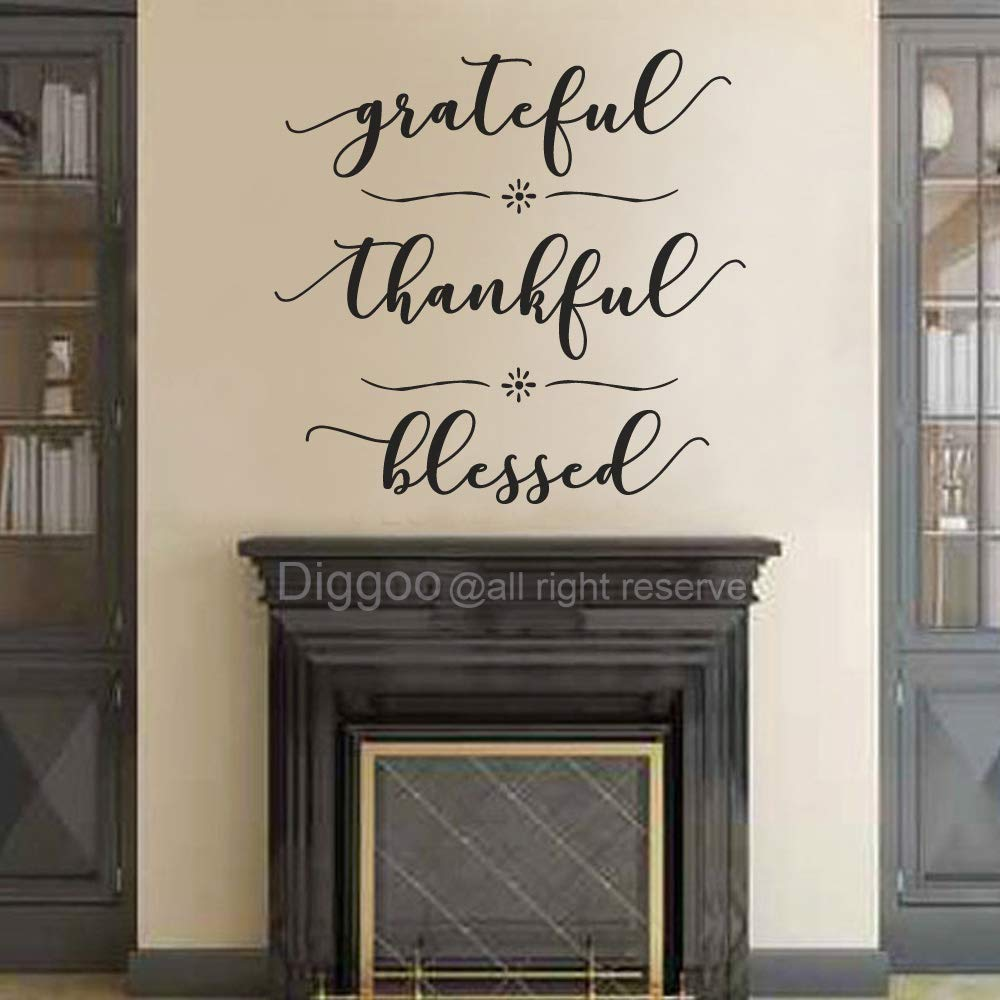 """DIGGOO Grateful Thankful Blessed Wall Decal Quote Faith Vinyl Lettering Thanksgiving Decor Living Room Sticker (Black,15.5"""" h x 16"""" w)"""