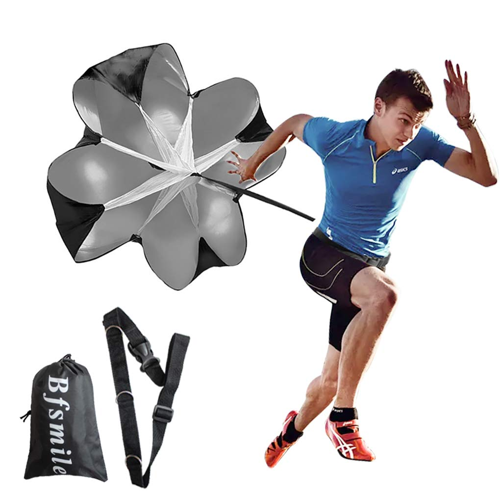 Bfsmile Running Speed Training 56″ Parachute with Adjustable Strap, Free Carry Bag. Speed Chute Resistance Running Parachute for Kids Youth and Adults (1 Umbrella)