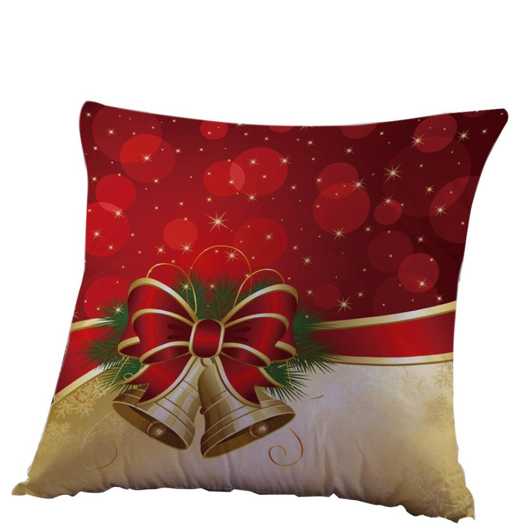 FUNIC Christmas Pillow Case, Christmas Sofa Bed Home Decoration Linen Square Cushion Covers