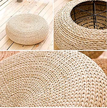 Zen Yoga Practice or Buddha MAHAO Straw Flat Seat Cushion Handmade Floor Pouf Mat 15.7 Dia. x 6.3 H Ottoman Footstool for Meditation