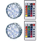 Ledgle Submersible LED Light Battery Operated Multi Color Changing Waterproof Decorated LED Lights with Remote Control for Aquarium, Hot Tub, Vase Base, Party, Wedding (2 Pack)