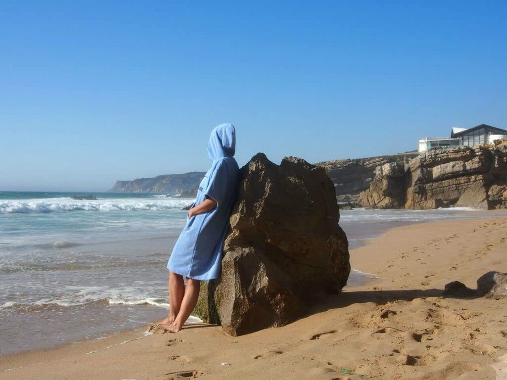 Surfponcho Unisex Atlantic Shore * Albornoz de algod/ón de Primera Calidad ➤ Azul Claro