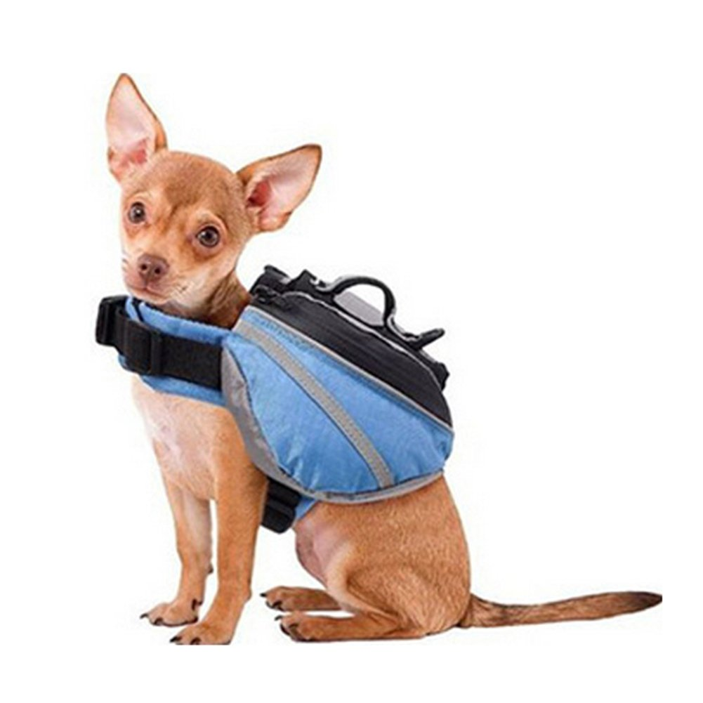 Braceus Saddle Bag Dog Backpack Adjustable Pet Carrier Hiking Camping Vest with Pockets for Medium and Large dogs Outdoor size XS (Blue)