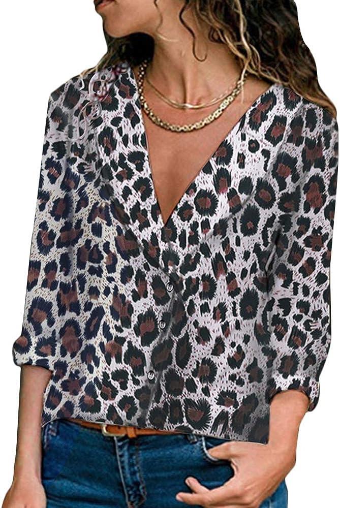Tomwell Mujer Manga Larga Cuello V Camisa Leopardo Impreso Blusas Camisetas y Tops tee con Botones Blanco ES 34: Amazon.es: Ropa y accesorios