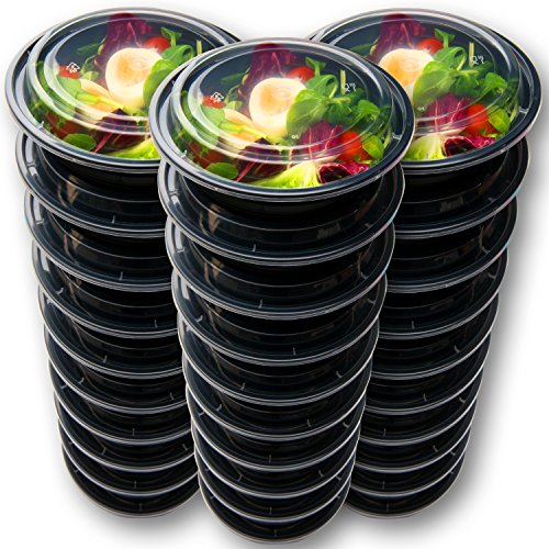 30 Meal Prep Containers Reusable - Disposable Food Containers Meal Prep Bowls - Plastic Containers with lids - Plastic Food Storage Containers with Lids - Lunch Containers for adults to go Containers by Prep Naturals