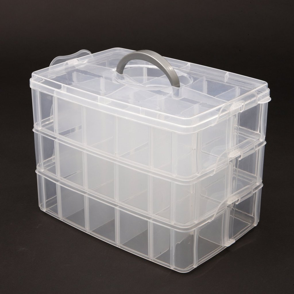 Kurtzy 3-Tray Transparent Plastic Organizer Storage Box Basket Container With Collapsible And Removable Dividers Lxbxh 31X19X24Cm Amazon.in Home u0026 Kitchen & Kurtzy 3-Tray Transparent Plastic Organizer Storage Box Basket ...