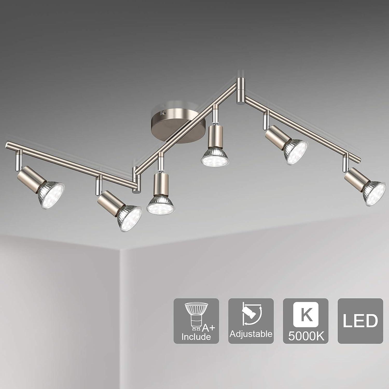 Unicozin LED 6 Light Track Lighting Kit, Matte Nickel 6 Way Ceiling Spot Lighting, Flexibly Rotatable Light Head, Modern Track Light Included 6 x LED GU10 Bulb (4W, Daylight White 5000K, 400LM)